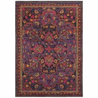 Bohemian Navy Pink Oriental Border Traditional Rug