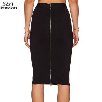 FANALA Skirts Womens Sexy Pencil Skirt 2017 High Waist Women Midi Skirt with Back Zipper Bodycon Skirts female femininas
