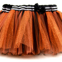 Orange & Black Stripes Halloween Sparkle Tutu