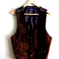 1980s or 90s chocolate brown suede and paisley vest