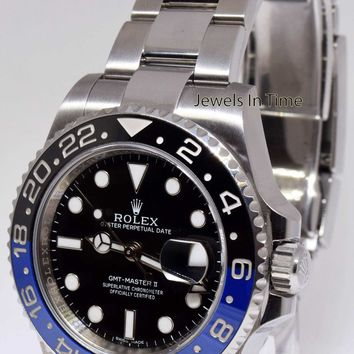 ** Rolex GMT-Master II Black/Blue Ceramic Steel Mens Watch 116710 BATMAN **