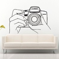Wall Decal Decor Decals Art Camera Survey Photo Hands Operator Brush Lens (M621)