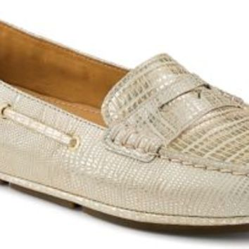 Sperry Top-Sider Gold Cup Metallic Penny Driver PlatinumSnakeskinEmbossedLeather, Size 7M  Women's
