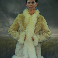 Vintage mouton afghan jacket / classic sheepskin Russian Princess coat / natural fluffy creamy fur trims