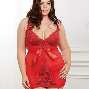 Plus Size Stretch Mesh Garter Slip