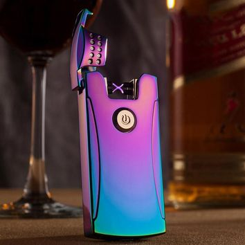 JOBON Metal USB Arc Lighter Electric Pulse X Arc Lighter can put in cigarette case box