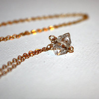 scutula - Herkimer diamond necklace by lilla stjarna - 14k gold, Herkimer diamond - gifts under 50 - Valentine's Day - April birthstone