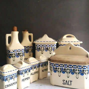 Vintage Kitchen Canister Set/ Vintage Kitchen Canister Set/ Czech Ceramic Canisters/ Vintage Salt Box/ Blue and White Canisters