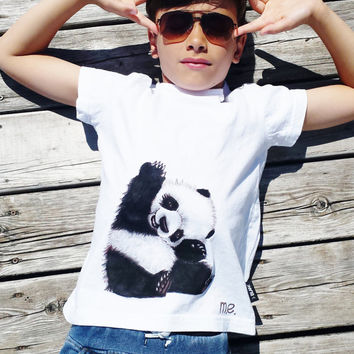 Handpainted unique kid's panda t-shirt, one of a kind, new kids collection, unisex fashion, size MEDIUM