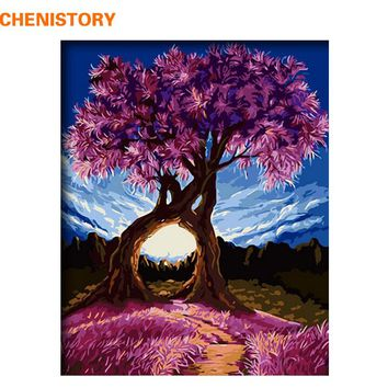 CHENISTORY Romantic Trees DIY Painting By Numbers Modern Home Wall Art Picture Acrylic Paint On Canvas For Wedding Decoration