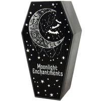 Wood Moonlit Coffin Box- 9-in