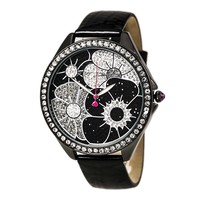 Betsey Johnson BJ00248-02 Women's Floral Black & Silver Dial Black Leather Strap Watch