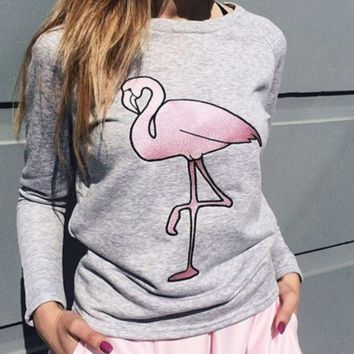 The New unisex Lovers' Supremme Flamingo Printed Pullovers Sweater Christmas Gift