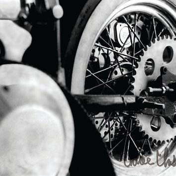 Black & White Photography - Skeleton - fine art print, home decor, wall photo, gears, motorcycle