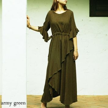 Iris - asymmetrical artist maxi dress (Q1031)