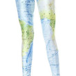 Blue and Green Earth Map Leggings