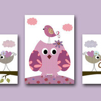 "Art for Children Kids Wall Art Baby Girl Room Decor Baby Nursery Decor Baby Girl Nursery print set of 3 8"" x10"" Print violet owls decoration"