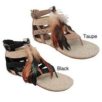 Carrini Women's Feather Gladiator Sandals  | Overstock.com