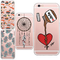 Glossy Designer Chocolate Nutella Heart and Dream Catcher Pattern Mobile Phone Case For iphone 6 6SPlus Clear Soft Silicon Cover