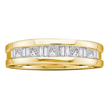 14kt Yellow Gold Men's Round Baguette Diamond Wedding Band Ring 1.00 Cttw - FREE Shipping (US/CAN)