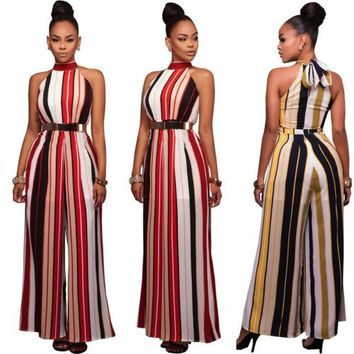 Ladies Casual Long Sleeve Striped Jumpsuits Women Sleeveless Striped Jumpsuit Women Ladies Casual Clothes