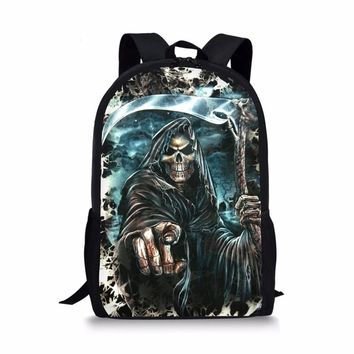 FORUDESIGNS Cool Skull Printing Backpack for Boys,Cartoon Kids Large Back Pack Bag Girls Teenage Children School Book Bags
