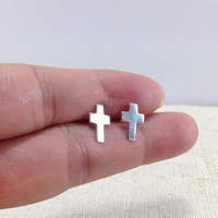 Tiny Silver Cross Stud Earring, Silver Ear Studs, Post Earrings, Everyday Jewelry