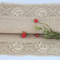 Luxury Natural Linen Table Runner Topper with Linen French lace natural stone grey vintage look French Country cottage style