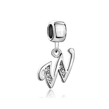 Nocary Clear Crystal Initial W Alphabet Bead For Pandora Charms Bracelet