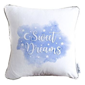 Sweet Dreams Decorative Throw Velvet Pillow w/ Silver & White Reversible Sequins   COVER ONLY (Inserts Sold Separately)