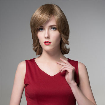 Short Human Hair Full Wig Capless Virgin Remy Side Bang Mono Top 8 Colors