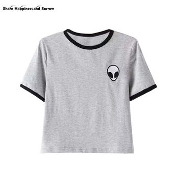 13 Color Casual Loose Print Short Sleeve Crop Top - Alien Logo