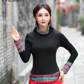 KYQIAO Women ethnic pullover female autumn Mexico style ethnic bohemian long sleeve turtleneck black red patchwork t shirt