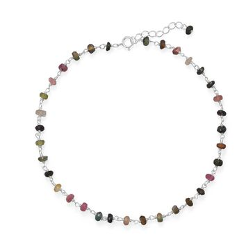 Sterling Silver Natural Multi-Color Tourmaline Bead Anklet