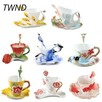 Bone china coffee mugs with saucer spoon sets tea milk cups and mugs creative Europe drinkware friend gift