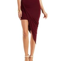 Red Asymmetrical Knit Skirt by Charlotte Russe