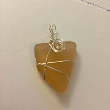 Peachy Dream Peach Texas Sea Glass wrapped in sterling silver wire. Texas found frosty Peach Beach Glass, sea glass rare, peach seaglass