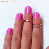3 Above the Knuckle Rose Gold Rings - Z Rose Gold Combo - set of 3 rings stackable midi rings