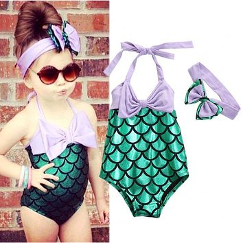 Girls Swimwear Kids Clothes 2017 Summer Brand Baby Girls Swimsuit Cartoon Mermaid Costume Toddler Swimwear for Girls 2-7 Y