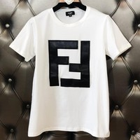 Fendi 2019 new embroidery classic double F letter men and women round neck shirt