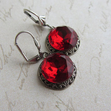 Red Crystal Earrings Oxidized silver Siam Czech, Vintage Blood Red Baroque Jewelry