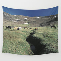Wild horses 3000 meters hight Wall Tapestry by Guido Montañés