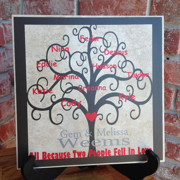 Custom Monogram Blended Family Tree Ceramic Tile Brown Red and Silver Vinyl Lettering 12x12