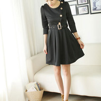 New Fashion Black Round Neck Dresses : Wholesaleclothing4u.com