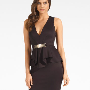 Deep V Neckline Sleeveless Peplum Bodycon Mini Dress