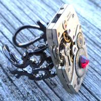 Steampunk Ring Red Crystal w a Vintage Watch Movement