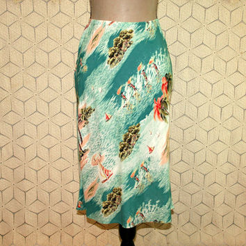 Vintage 80s Hawaiian Skirt Rayon Novelty Print XS Small Petite Womens Skirts Palm Trees Surfers Boats 1980s Vintage Clothing Womens Clothing