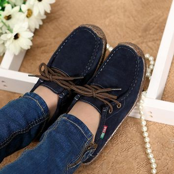 2017spring women genuine leather shoes woman Hand-sewn suede leather flats cowhide flexible boat shoes women loafer plus size059