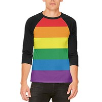Rainbow Gay Pride Flag Mens Raglan T Shirt