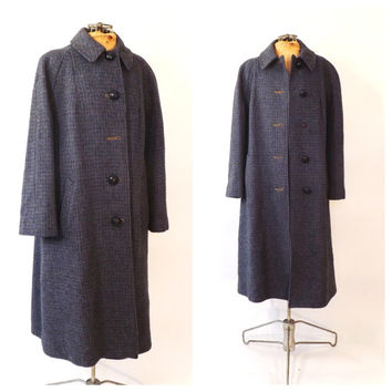 Vintage 1950s Purple Harris Tweed Coat Handwoven Scottish Wool Coat 50s Winter Outerwear 1960s Tweed Coat Classic Womens Harris Tweed Jacket